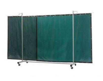 Fahrbare Schweißerschutzwand Robusto Dreiteilig mit Green-6 Vorhang