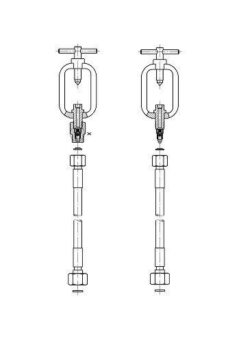 """HD-Schlauch f. Acetylen m. Flaschenanschluss großer Bügel 800mm W21,8×1/14"""" l.h."""