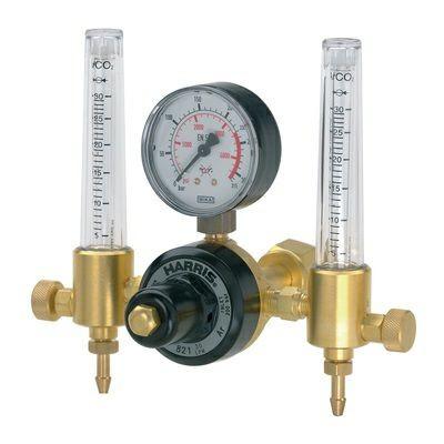 Flaschendruckminderer Argon mit zweifachem Flowmeter 230 bar / 30 L / 1/4R