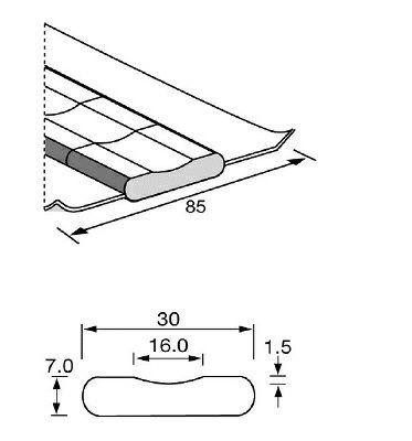 Keram. Badsicherung PZ 1500/80 16mm auf Aluband 500mm