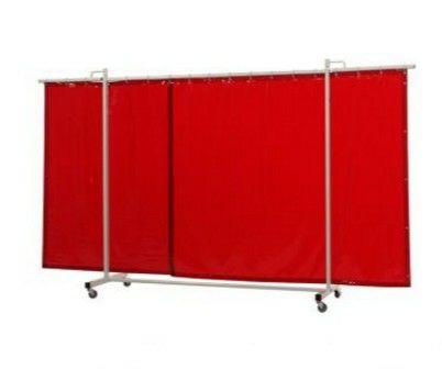 Fahrbare Schweißerschutzwand Robusto Dreiteilig mit Orange-CE Vorhang